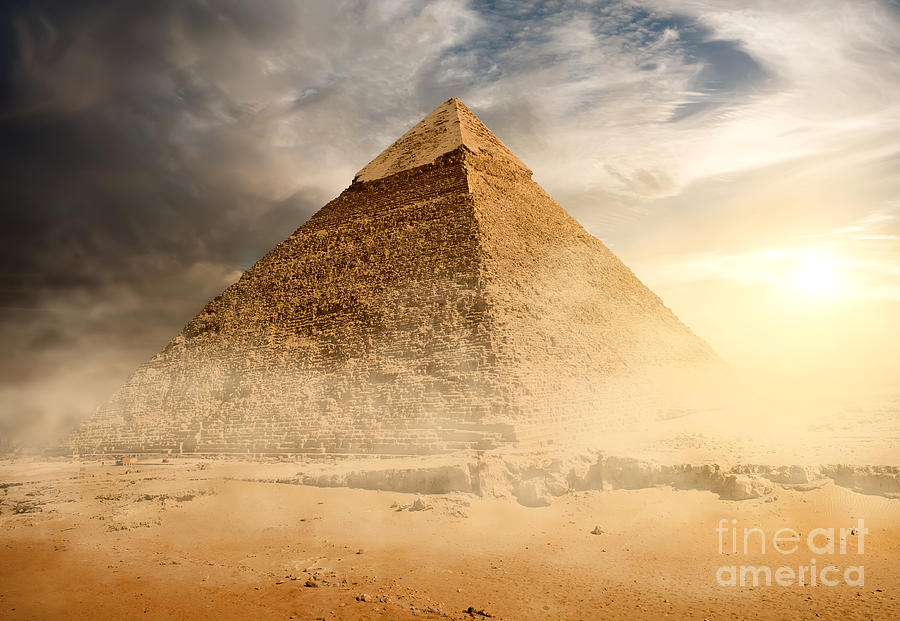 Heat Photograph - Pyramid In Sand Dust Under Gray Clouds by Givaga