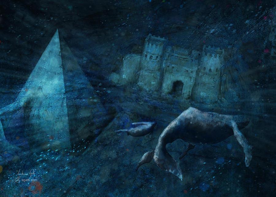 Pyramid Of Cestius Underwater Digital Art