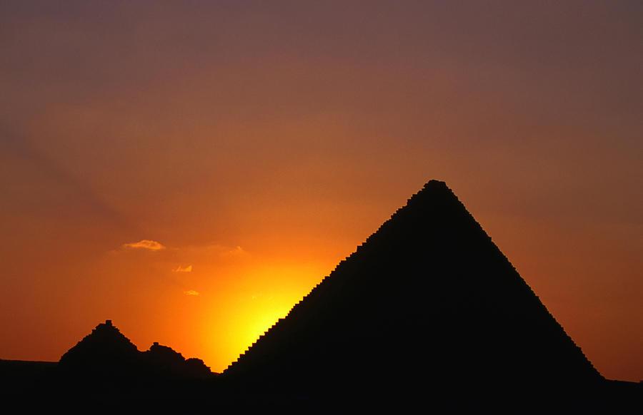 Pyramid Of Mycerinus At Giza At Sunset Photograph by Anders Blomqvist