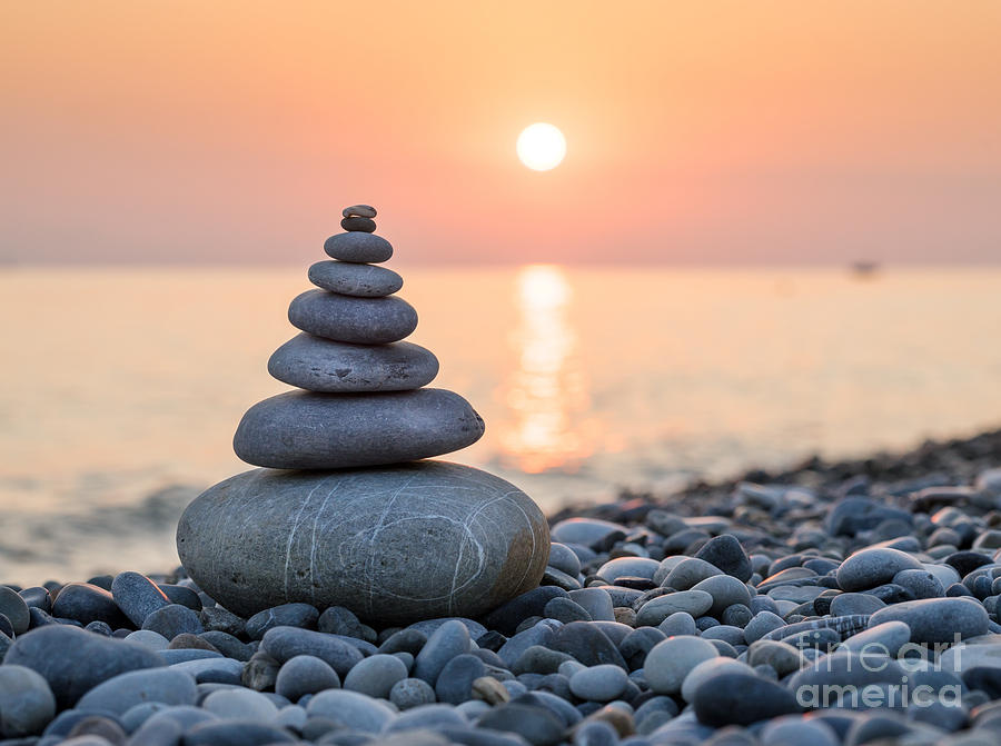 Harmony Photograph - Pyramid Of Stones For Meditation Lying by Maxim Blinkov