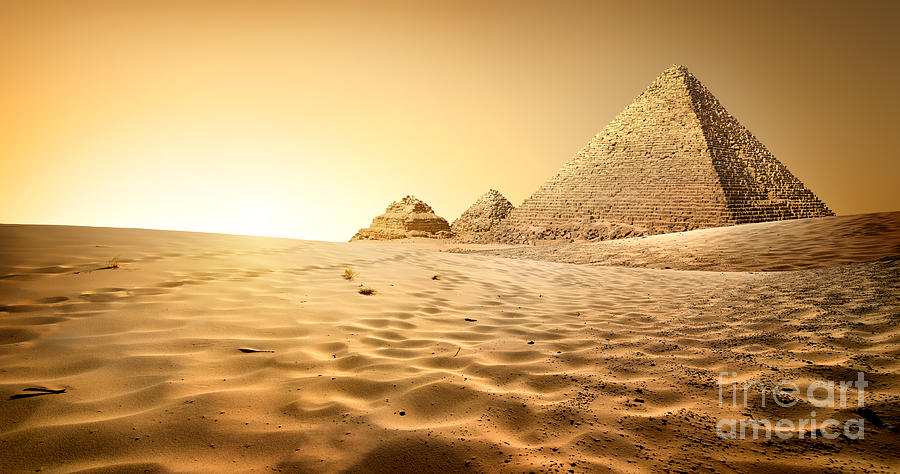 Heat Photograph - Pyramids In Sand by Givaga