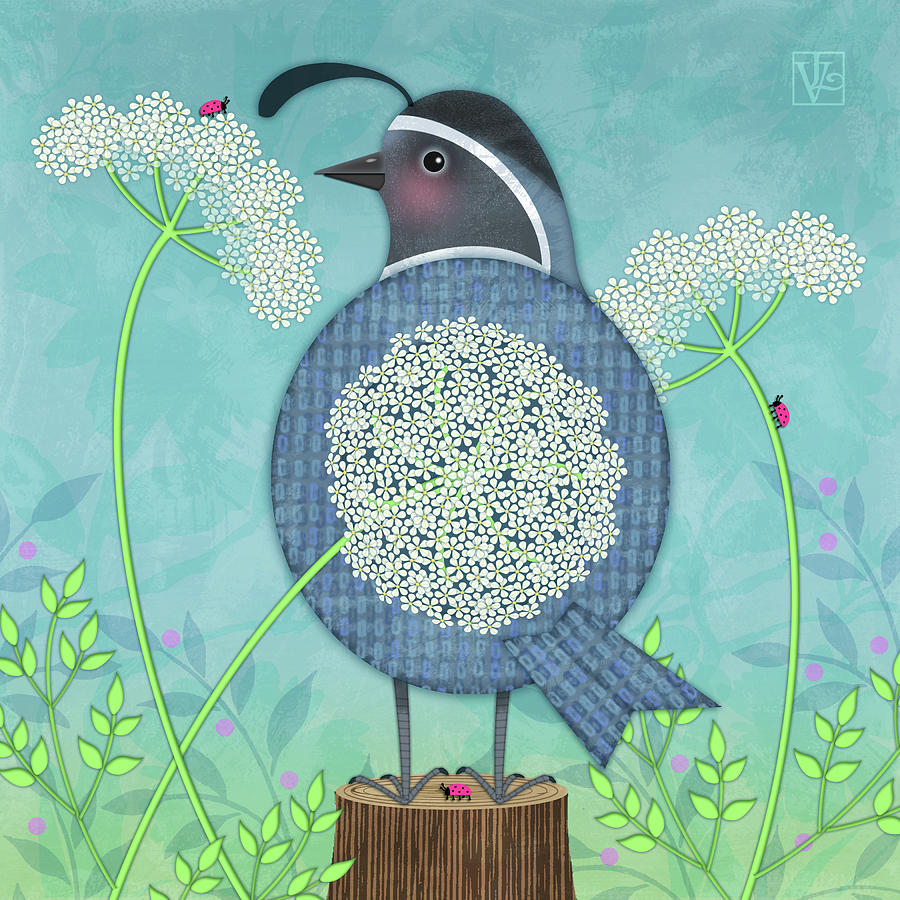 Q is for Quail and Queen Anne's Lace by Valerie Drake Lesiak
