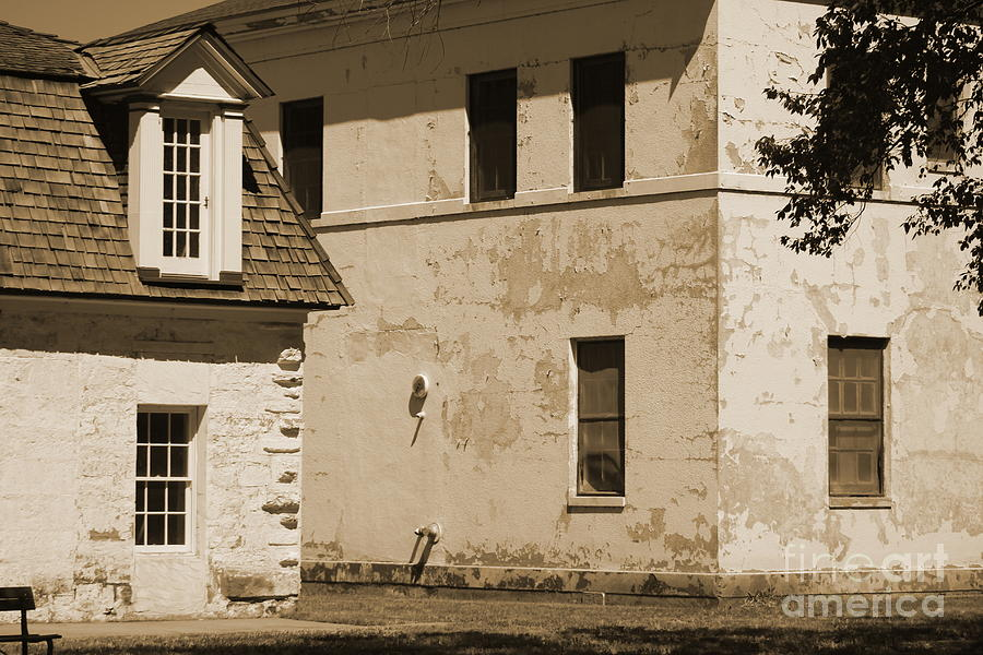 Quarters and Hospital at Fort Stanton New Mexico in Sepia by Colleen Cornelius