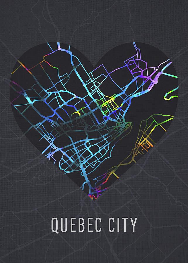 Street Map Of Quebec City Canada Quebec City Canada City Heart Street Map Love Dark Mode Mixed