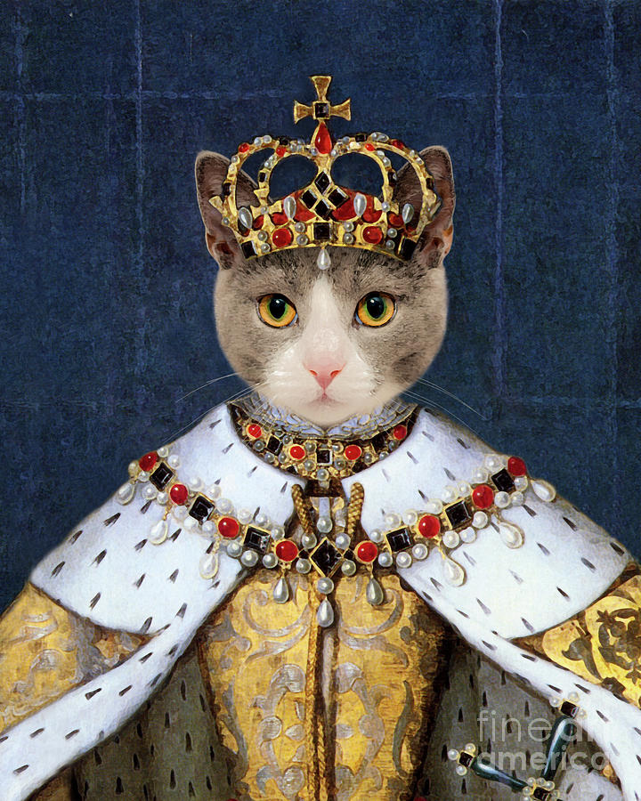 Queen Cat Elizabeth I Painting by Delphimages Photo Creations