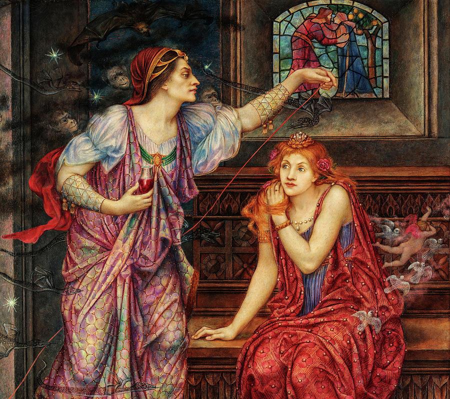 Evelyn De Morgan Painting - Queen Eleanor And The Fair Rosamund, 1902 by Evelyn De Morgan