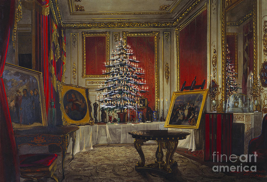 Queen Victorias Christmas Tree, 1850 Drawing by Heritage Images
