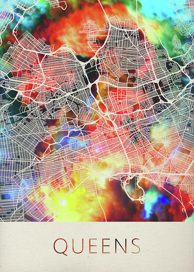 Map Of New York Showing Queens.Queens New York Watercolor City Street Map By Design Turnpike
