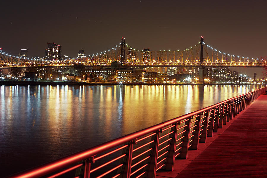 Queensboro Bridge At Night Photograph by Allan Baxter
