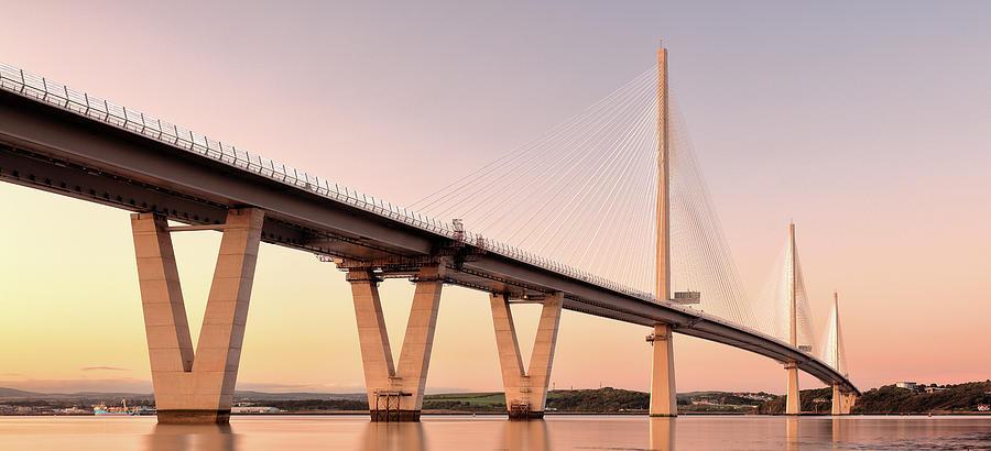Bridge Photograph - Queensferry Crossing Bridge Sunset by Grant Glendinning