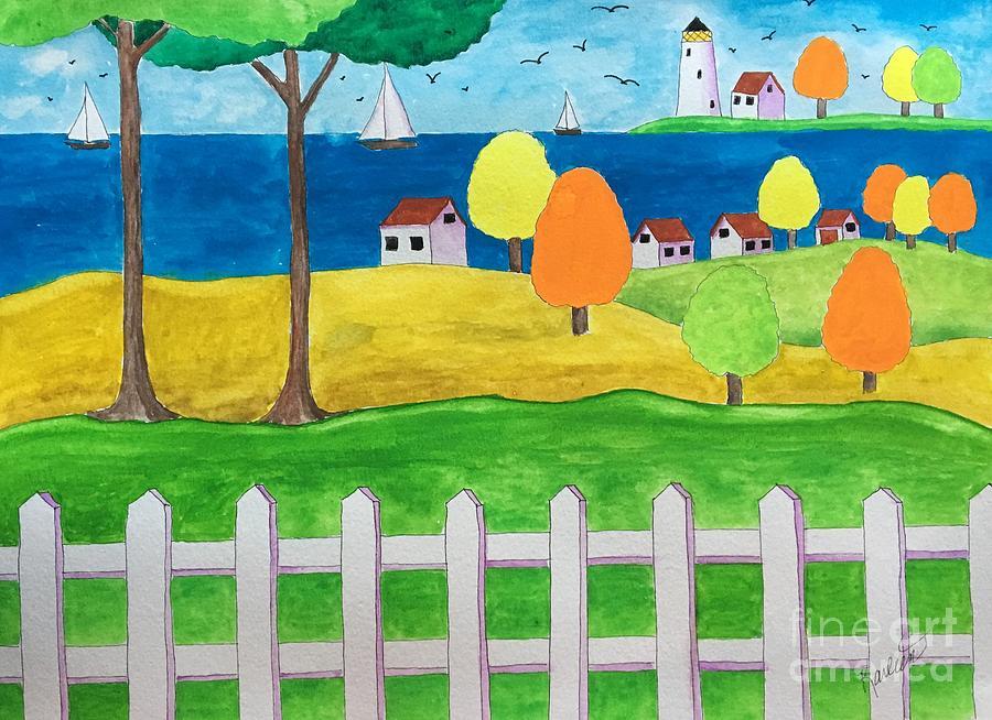 Quiet Coastal Village Painting
