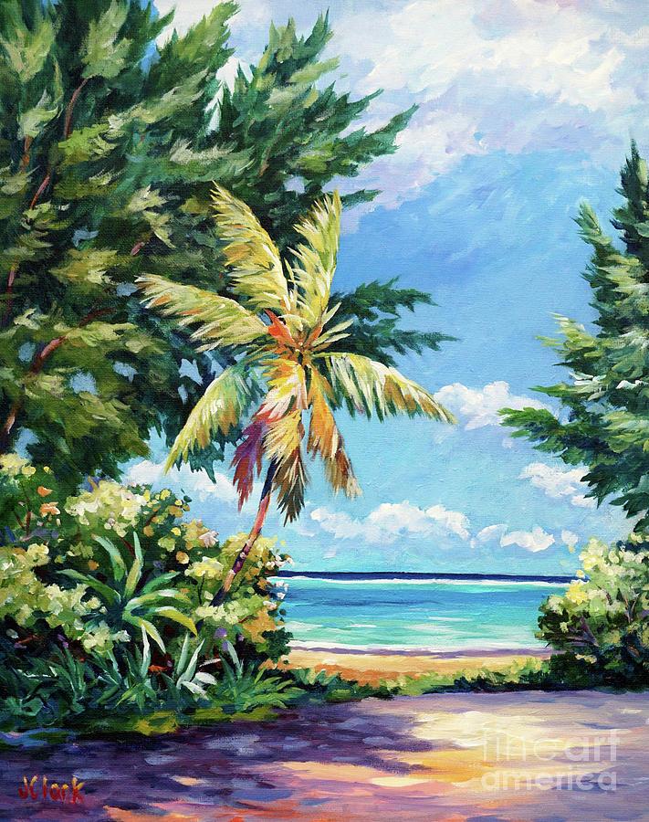 Cayman Painting - Quiet Stretch Of Beach by John Clark