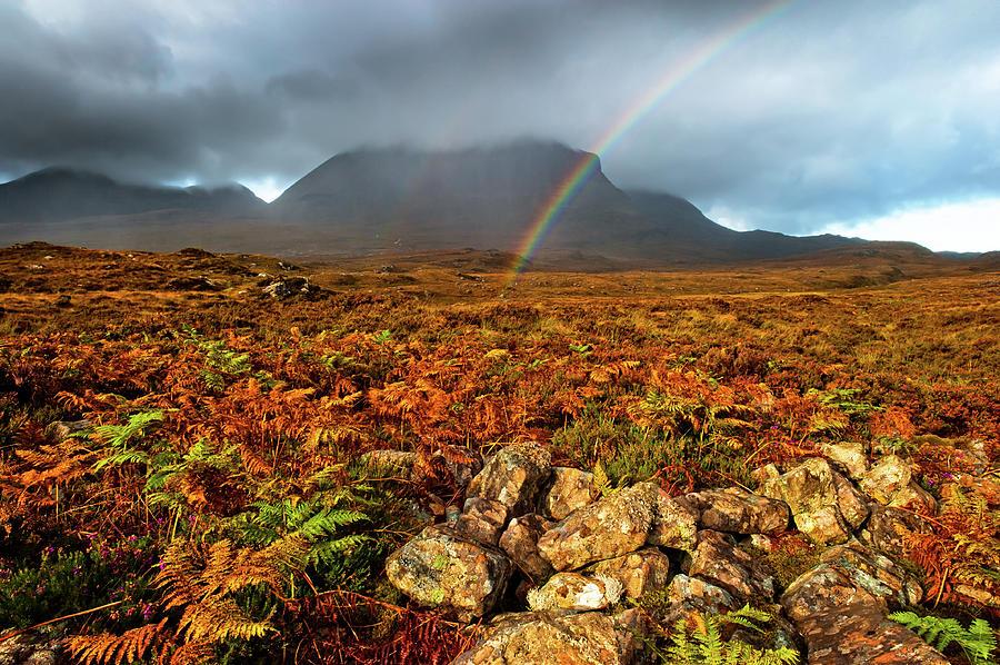 Assynt Photograph - Quinag rainbow, Sutherland, Scottish Highlands by David Ross