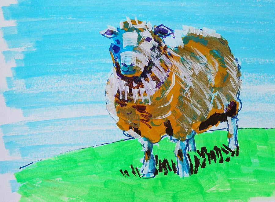 Quirky sheep painting gold and blue by Mike Jory