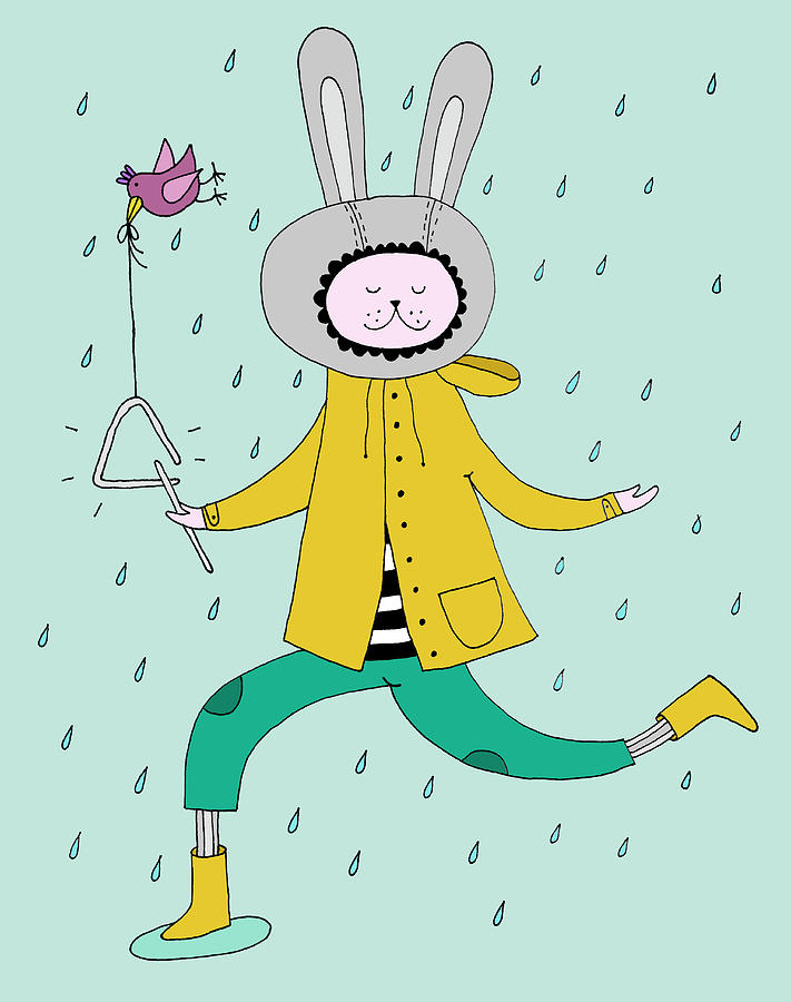 Rabbit In Rain Digital Art by Kristina Timmer