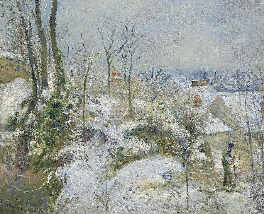 French Painters Painting - Rabbit Warren At Pontoise, Snow by Camille Pissarro