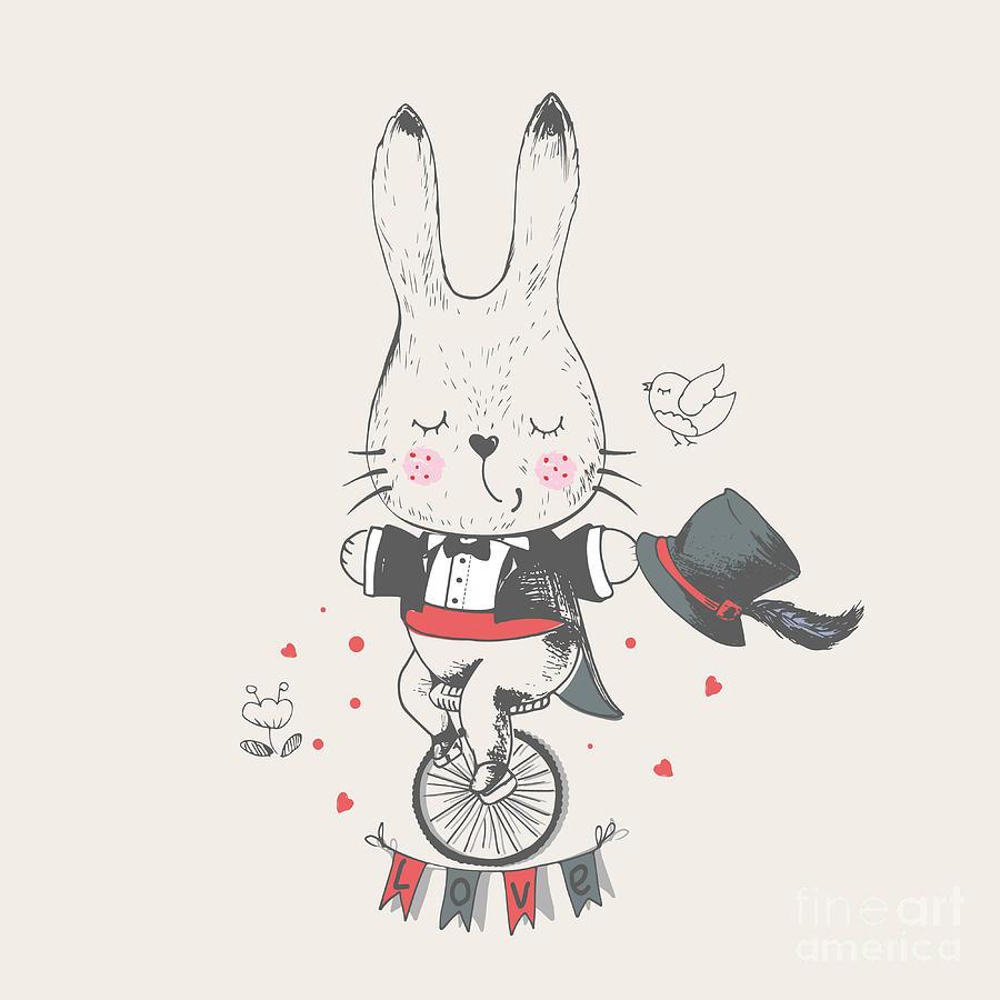 Bicycle Digital Art - Rabbitbunny Riddingbicyclehand Drawn by Eteri Davinski