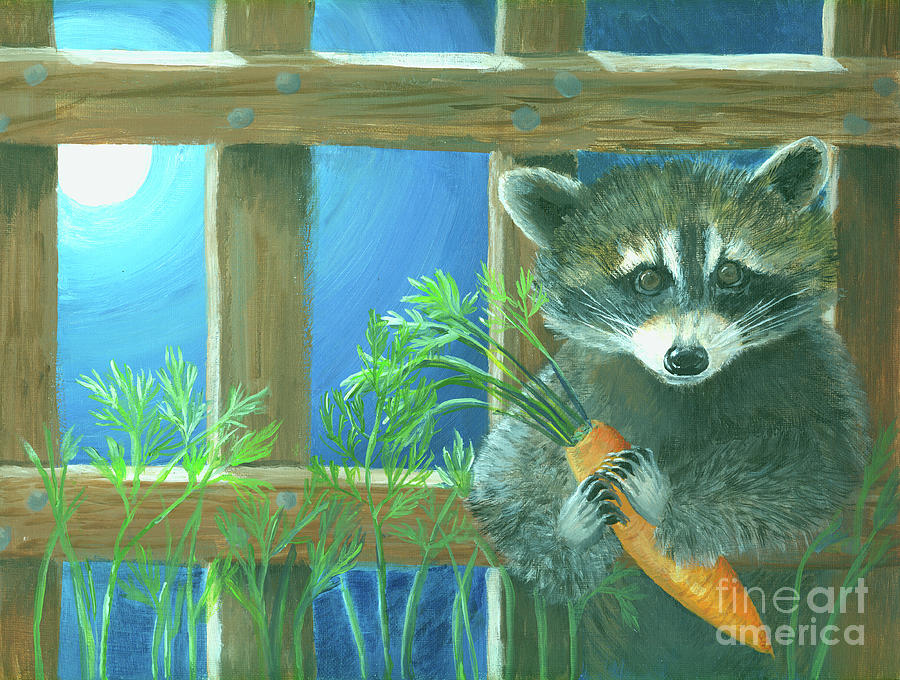 Raccoon Painting - Raccoon in the Light of the Moon by Pam Fries
