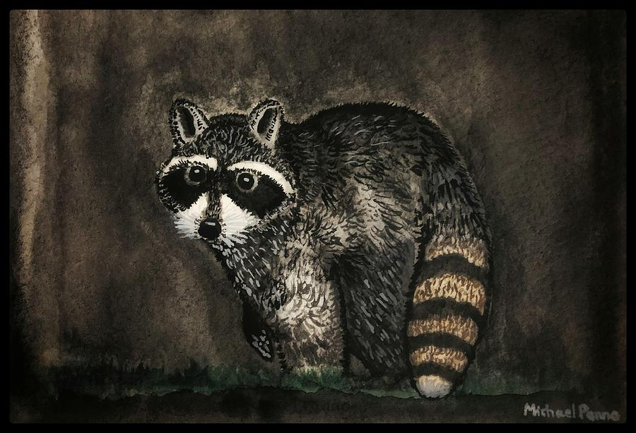 Raccoon W/ Border Painting