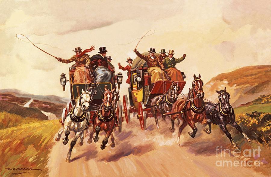 Winding Road Painting - Race Between Stage Coaches by Derek Charles Eyles