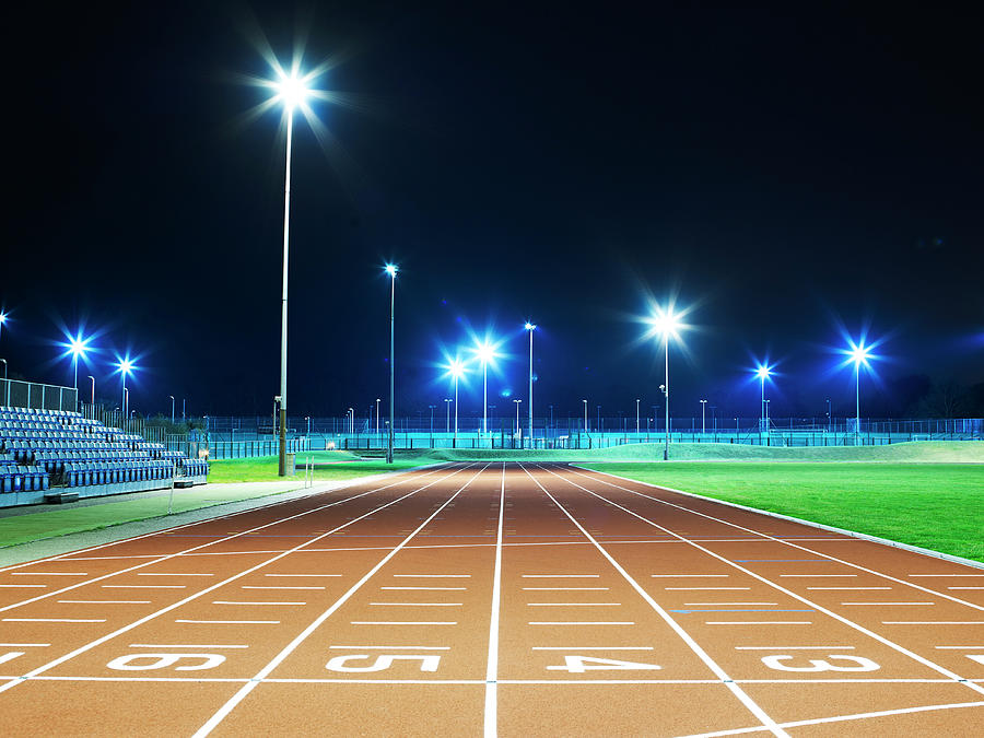 Race Track At Night Photograph by Mike Harrington