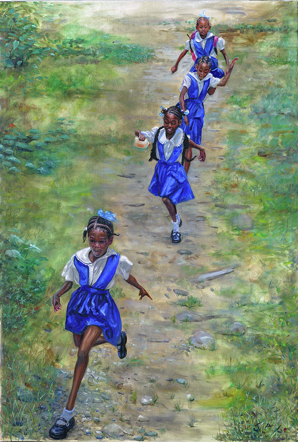 Saint Lucia Painting - Racing Home by Jonathan Guy-Gladding JAG
