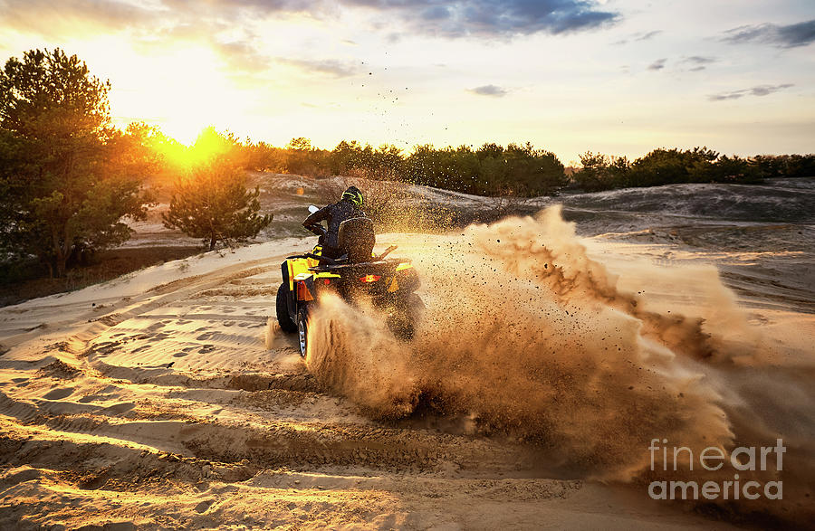 Racing In The Sand On A Four-wheel Photograph by Bondariev