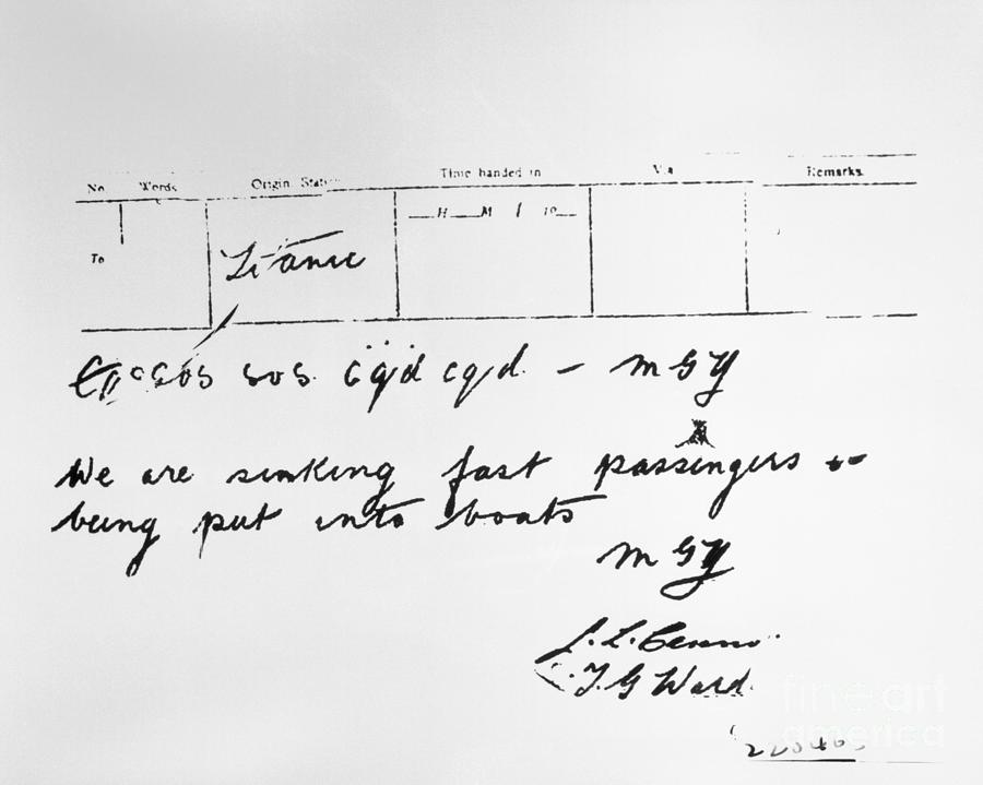 Radio Message From The S.s. Titanic Photograph by Bettmann