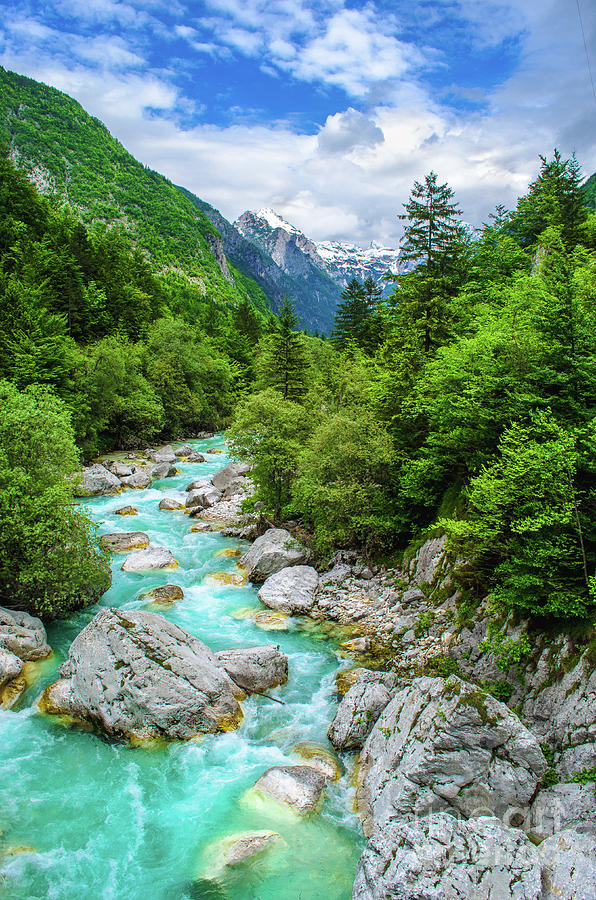 rafting sport background river course valley vertical nature panorama by Luca Lorenzelli