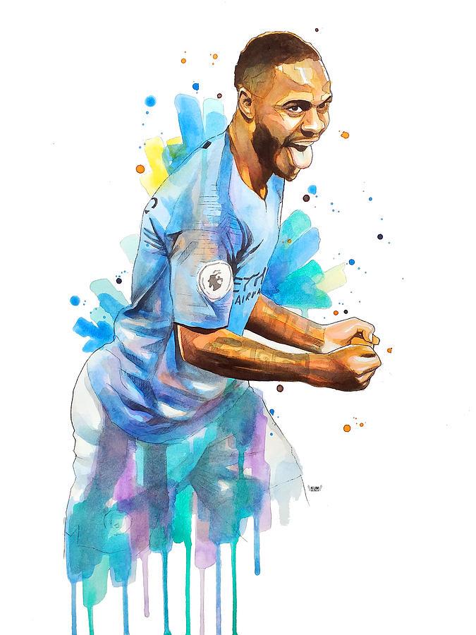 Manchester City Painting - Raheem Sterling, Manchester City by Wachira Kacharat
