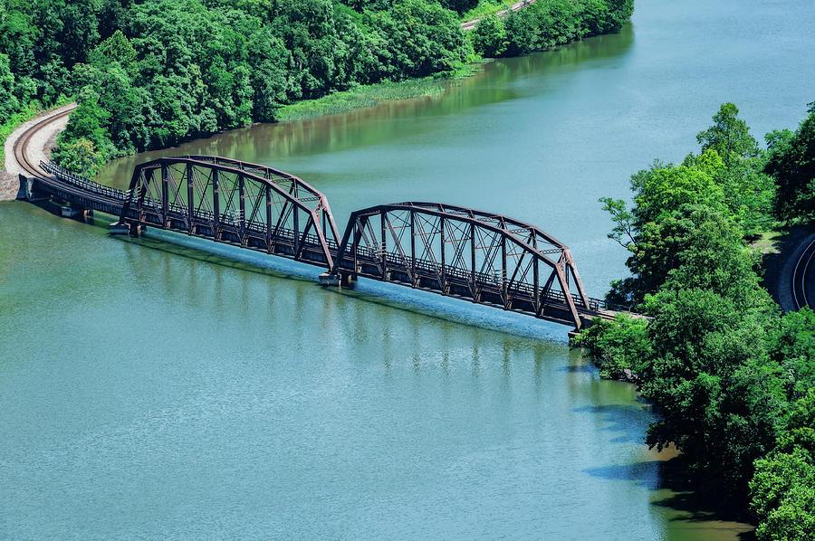 Bridge Photograph - Railroad Bridge At Hawks Nest  -  Hawksnesttraintrestle197335 by Frank J Benz