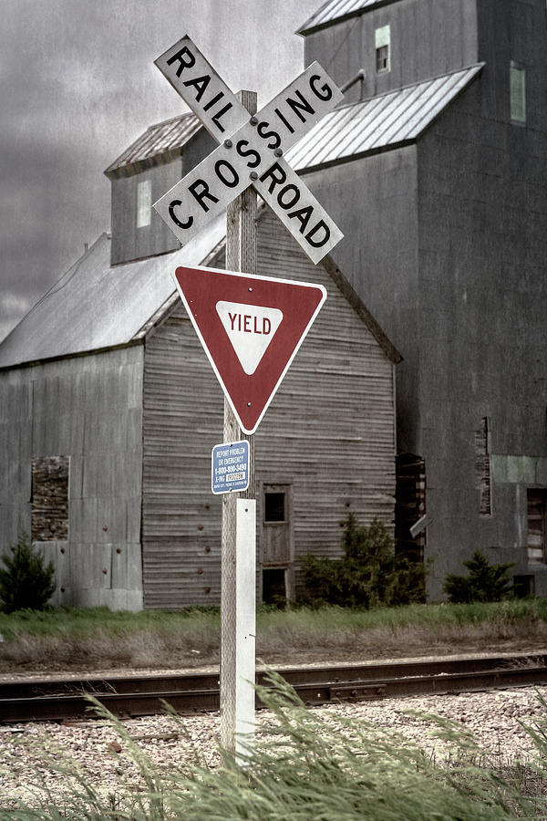 Railroad Crossing Cottonwood South Dakota II by Joan Carroll