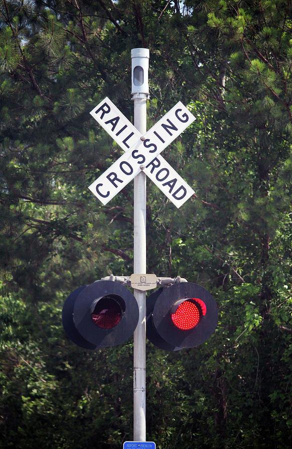 Caution Photograph - Railroad Crossing Warning Signal by Cynthia Guinn