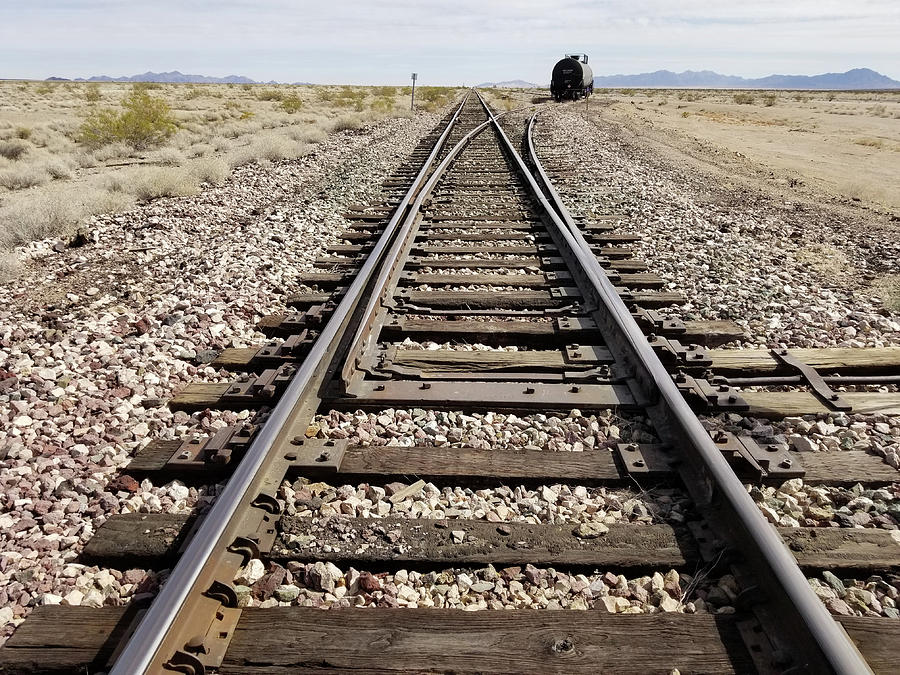 Railroad Mainline Arizona and California Railroad in the California Desert by Jamie Baldwin