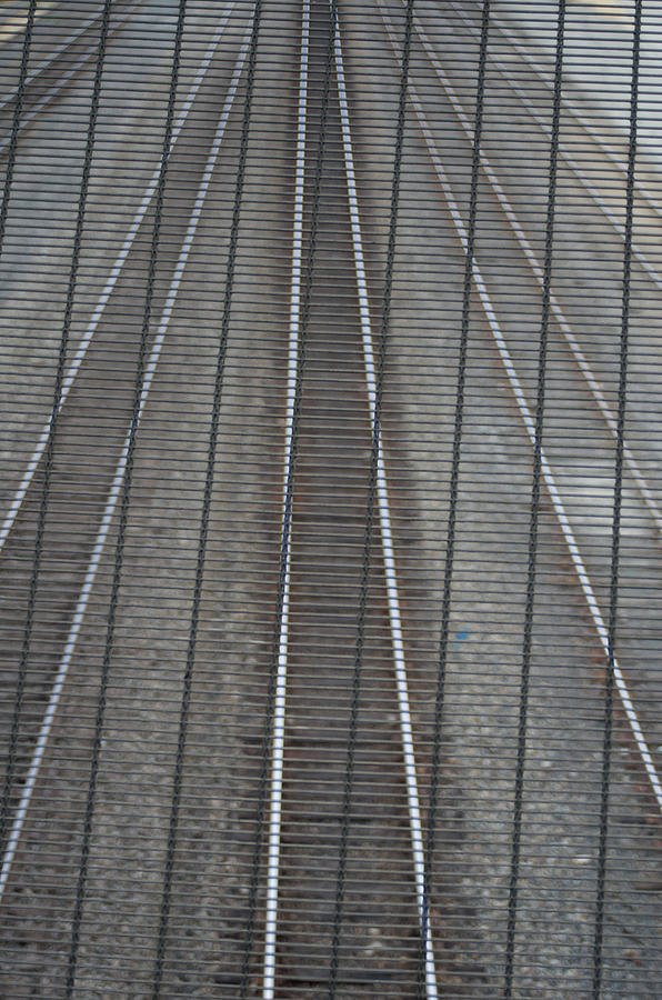 Railroad Tracks Seen Through Metal Fence Photograph by Aaron Mccoy