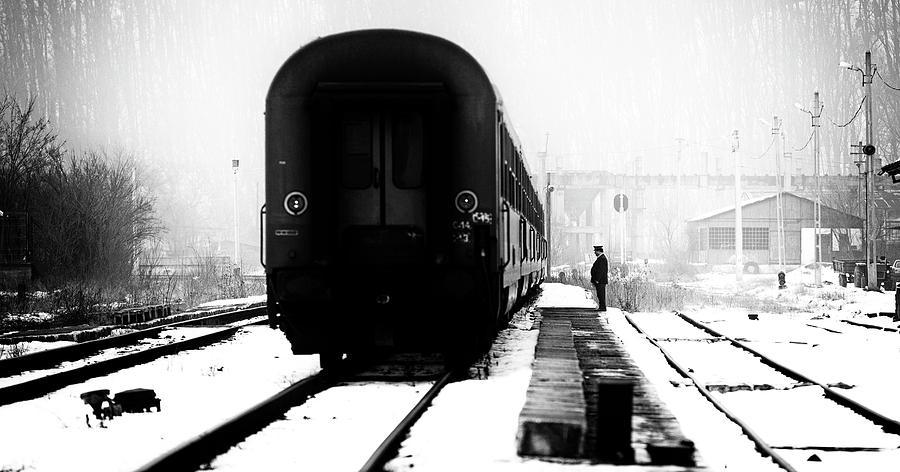 Train Photograph - Railway Station Winter Scene by Julien Oncete