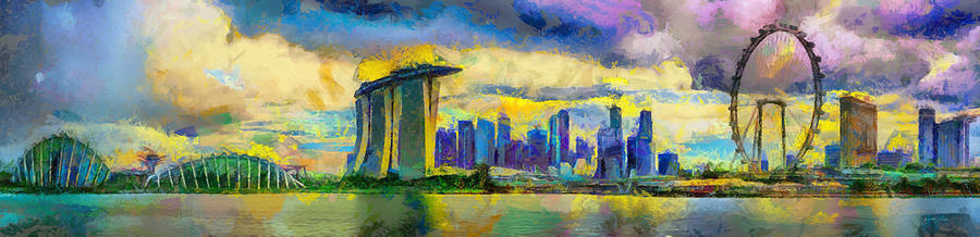 Rain approaches on the Singapore skyline by DAWEArt