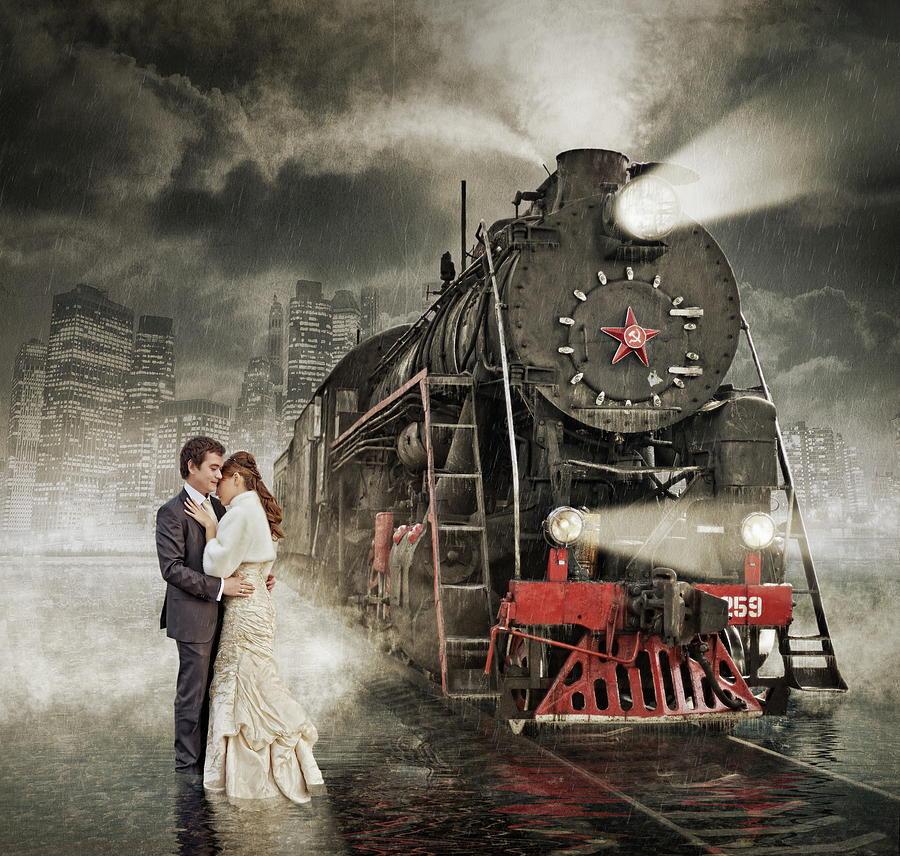 Train Photograph - Rain by Dmitry Laudin