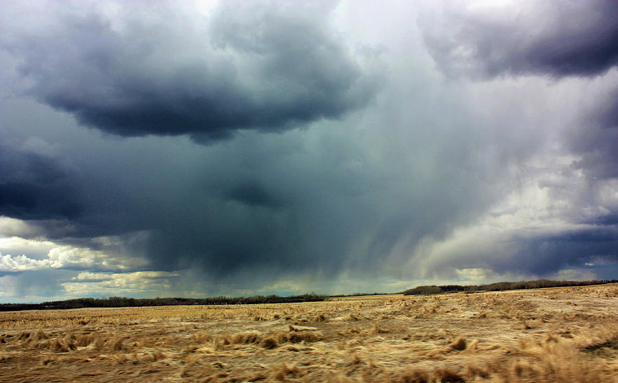 Storm Clouds Photograph - Rain Down On Parched Fields  by Deborah Kinisky