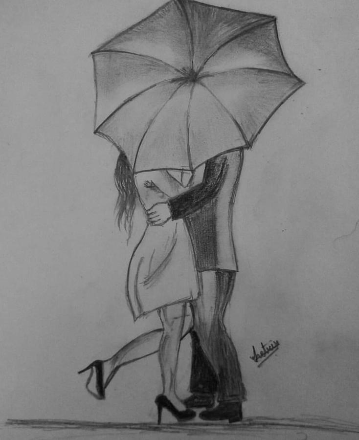 Rain Love Buds Drawing By Ashmita Paul