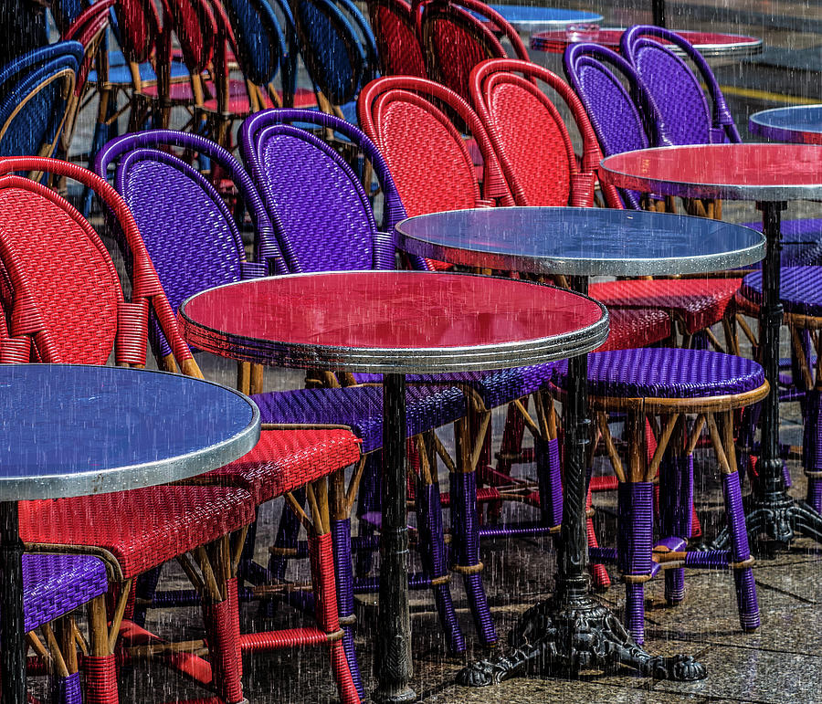Rain on Paris Tables by Gary Karlsen