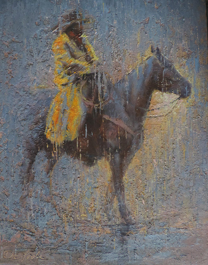 Cowboy Painting - Rain Or Shine by Mia DeLode