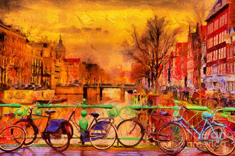 Capital Digital Art - Rain Over Amsterdam Canal Impressionist by Ivan Aleshin