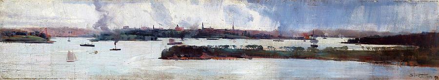 Arthur Streeton Painting - Rain Over Sydney Harbour - Digital Remastered Edition by Arthur Streeton