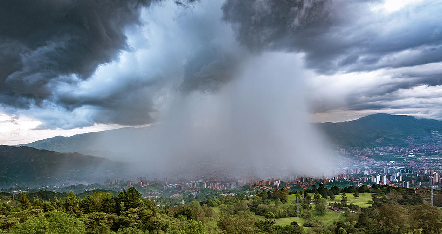 Rain Storm Over Medellin by Francisco Gomez