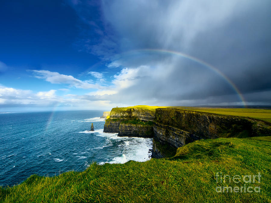 Cliff Photograph - Rainbow Above Cliffs Of Moher Ireland by Liseykina