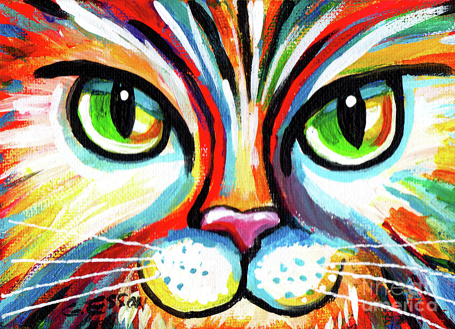 Rainbow Cat Face by Genevieve Esson