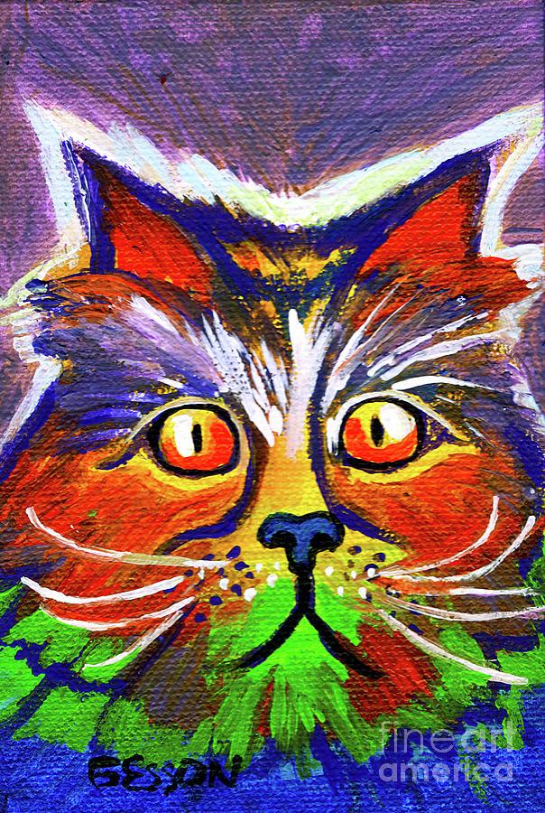 Rainbow Cat With Orange Eyes by Genevieve Esson