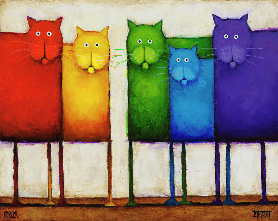 Rainbow Cats Painting - Rainbow Cats by Daniel Patrick Kessler