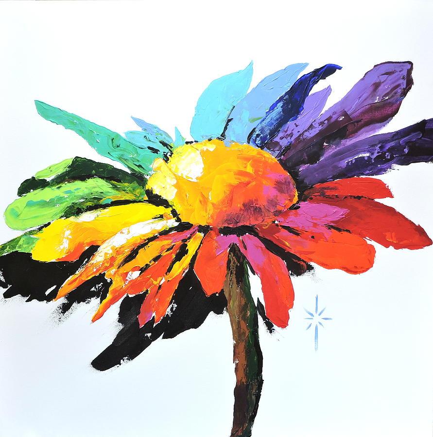 Rainbow Daisy by Jodie Marie Anne Richardson Traugott          aka jm-ART